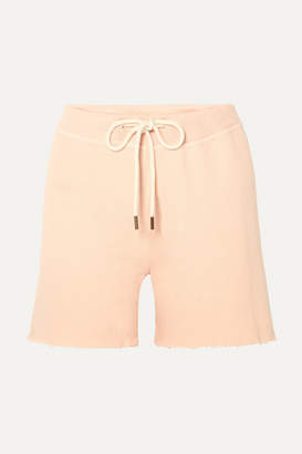 The Great The Sweat Frayed Cotton-jersey Shorts - Pink