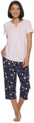 Croft & Barrow Petite Smocked Sleep Tee & Pajama Capri Set