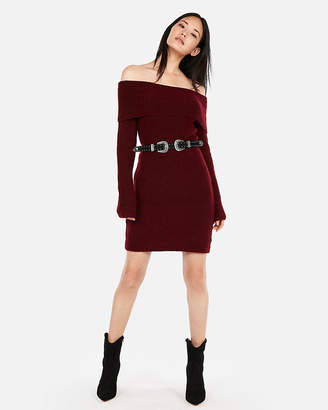 Express Off The Shoulder Sweater Dress