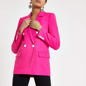 8f6e776582 River Island Womens Pink double breasted boyfriend blazer
