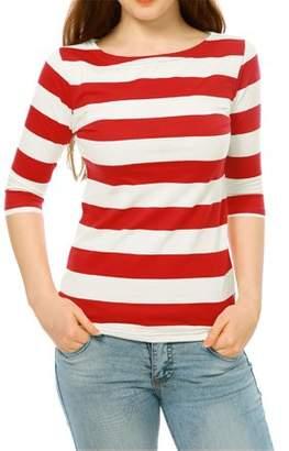 Unique Bargains Women's Boat Neck Elbow Sleeves Slim Fit Striped T-shirt Top