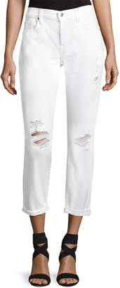 7 For All Mankind Josephina Skinny Jeans W/ Destroy, White
