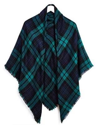 IGIA Women's Stylish Blanket Scarf Winter Warm Pashmina Wrap Shawl - Green/Navy