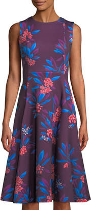 Iconic American Designer Hibiscus-Print Sleeveless Fit-&-Flare Dress