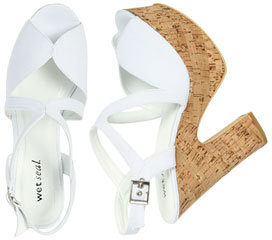 Wet Seal WetSeal Peep Toe Cork Heel White