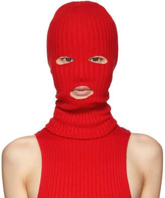 giu giu Red Rib Knit Ski Mask