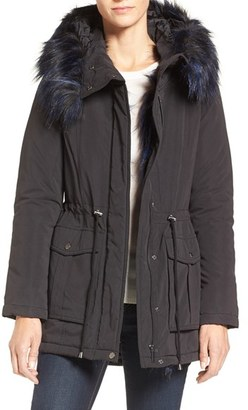 French Connection Microfiber Anorak with Faux Fur Trim $158 thestylecure.com
