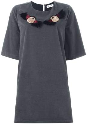 Au Jour Le Jour embroidered bird T-shirt dress