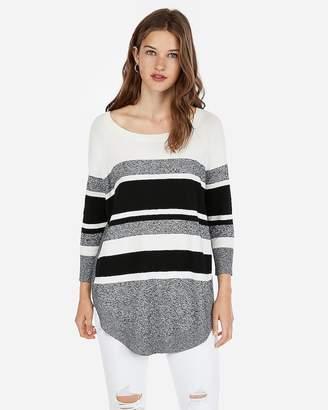 Express Stripe Extreme Circle Hem Sweater