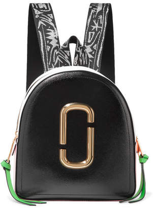 Marc Jacobs Pack Shot Color-block Textured-leather Backpack - Black