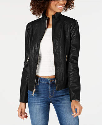 3bd98e22379 GUESS Faux-Leather Moto Jacket