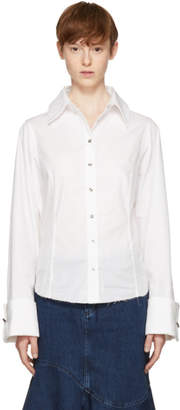 Marques Almeida White Pierced Cuff Shirt