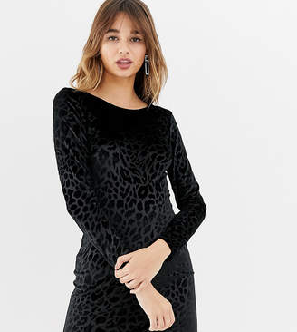 Stradivarius long sleeved velvet dress in leopard print