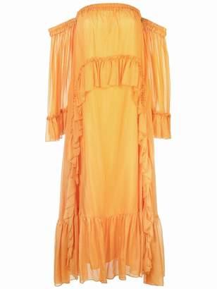 AMUR off-shoulder ruffled maxi dress