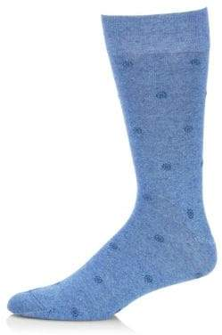 Saks Fifth Avenue COLLECTION Dotted Box Combed Cotton-Blend Socks