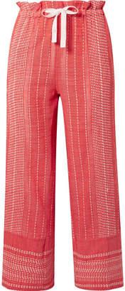 Lemlem Saba Cropped Embroidered Cotton-gauze Wide-leg Pants - Coral