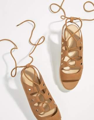 Aldo Suede Tie Up Flatform Espadrille Sandals