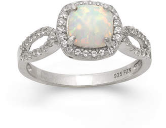 FINE JEWELRY Simulated Opal & Lab Created White Sapphire Sterling Silver Ring