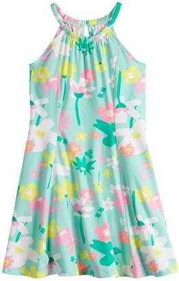 Girls 4-10 Jumping Beans Pattern Princess Seam Halter Dress