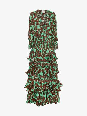 Johanna Ortiz Tribal Print Silk Maxi Dress