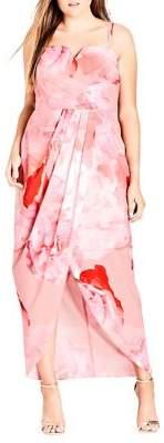 City Chic Plus Girly Rose Maxi Dress