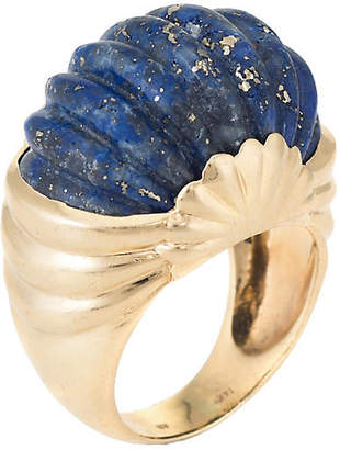 One Kings Lane Vintage Fluted Lapis Lazuli Cocktail Ring - Precious & Rare Pieces