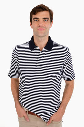 Boast Navy Striped Pocket Polo