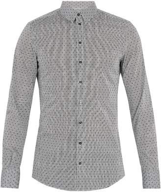 Dolce & Gabbana Single-cuff polka-dot print cotton-blend shirt