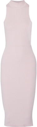 Cushnie et Ochs - Lace-up Ribbed Stretch-knit Midi Dress - Baby pink $1,050 thestylecure.com