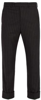 Gucci Striped Wool Trousers - Mens - Grey