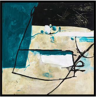 Jonathan Bass Studio Sandbox 4 - Blue, Decorative Framed Hand Embellished Canvas