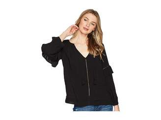 1 STATE 1.STATE Split-Neck Blouson Sleeve Top with Tassels