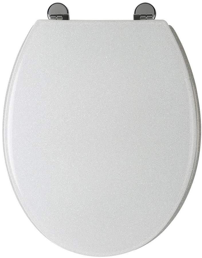 White Glitter Toilet Seat
