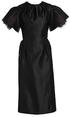 Alexander McQueen Women's Tulip Sleeve Gathered Silk Midi Dress