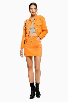 Topshop Womens Orange Denim Skirt