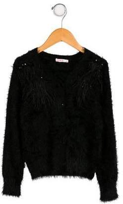Billieblush Girls' Feather-Accented Knit Cardigan
