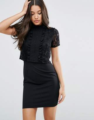 ASOS Lace Crop Top Ruffle Trim Mini Dress $68 thestylecure.com