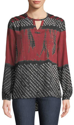 Tolani Caitlyn Long-Sleeve Tie-Dye Print Blouse w/ Embroidered Detail, Plus Size