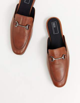 Asos DESIGN backless loafer in tan with snaffle