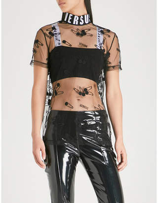 Versace Logo and safety pin-embroidered tulle top