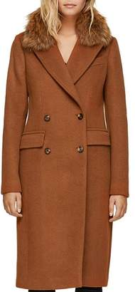 Soia & Kyo Fur Collar Double-Breasted Button Front Coat