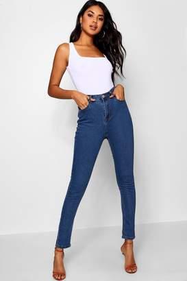 boohoo High Waisted Mid Wash Skinny Jeans