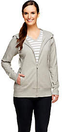 Denim & Co. Active French Terry Jacket and Knit Striped Top Set