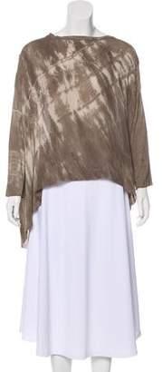 Raquel Allegra Silk-Paneled Tie-Dye Top