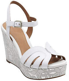 Clarks Artisan Floral Print Wedge Sandals -Amelia Page