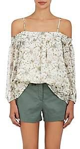 Barneys New York Women's Floral Plissé Chiffon Blouse - White
