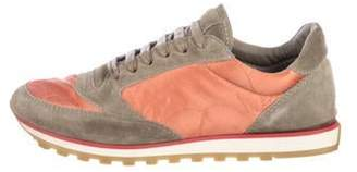 Brunello Cucinelli Suede-Satin Sneakers Olive Suede-Satin Sneakers