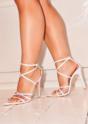 820d33cc7c5 Missy Empire Missyempire Harmony Silver Holographic Strappy Heels