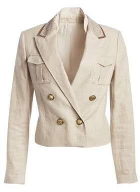 Brunello Cucinelli Linen& Cotton Double-Breasted Sequin Collar Jacket