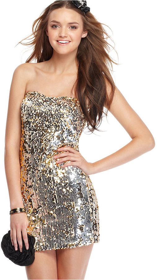 As U Wish Dress, Strapless Sweetheart Sequins Tube Mini